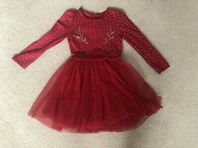 Girls Red Christmas Party Dress Age 3-4 Years From Mothercare