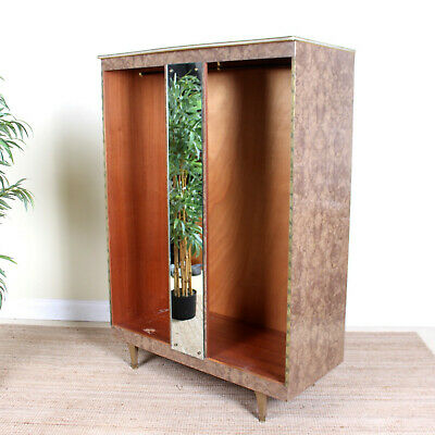 Vintage Art Deco Open Wardrobe Brass Bleached Walnut
