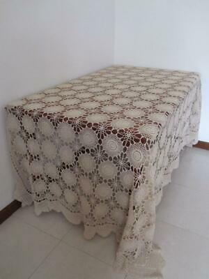 Vintage Heirloom Large Banquet CROCHET TABLECLOTH Exquisite Design vy