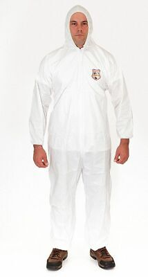 Hooded Disposable Coveralls with Elastic Cuff, MicroGuard MP® Material, White, M