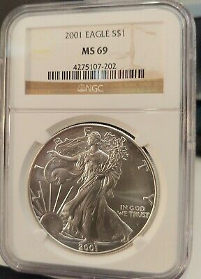 2001 American Silver Eagle Dollar NGC MS-69 Certified Graded Authenticated Coin