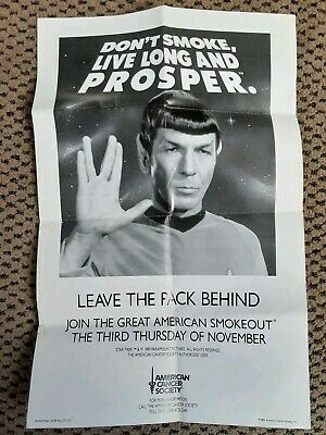 Collectible Spock StarTrek American Cancer Society 17 x 11 Black & White Poster