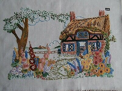 Vintage Thatch Cottage Garden Scene  completed embroidered picture