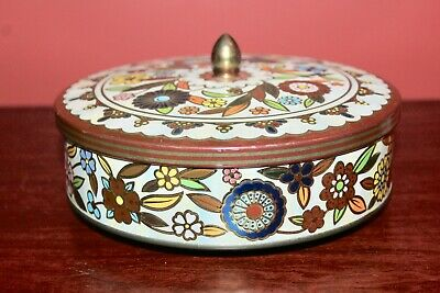 Vintage Round Metal Tin Container White Gold Flower Design, Made in England