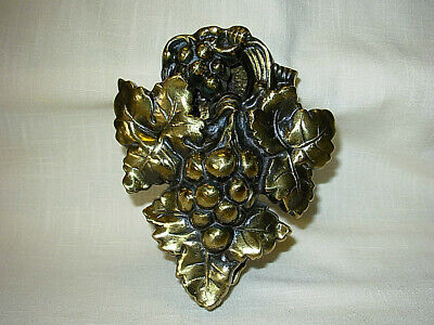 Vintage Solid Brass Grape Cluster and Leaves Door Knocker 6""