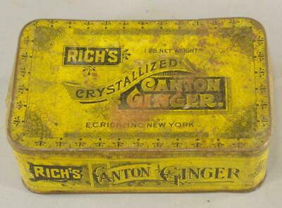 Vintage Tin Metal Box - Rich's Crystallized Canton Ginger NY Storage Rustic