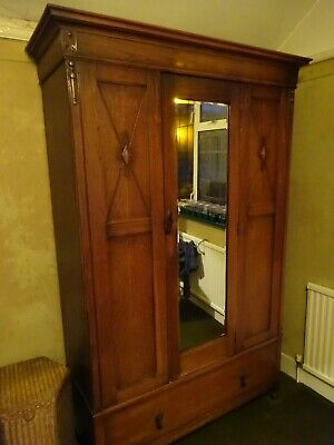 Vintage Oak Single Wardrobe with Mirror, Drawer and two rails