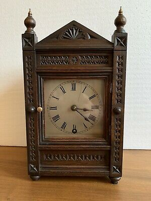 Antique Oak Winterhalder & Hofmeier Mantel Clock Circa 1890