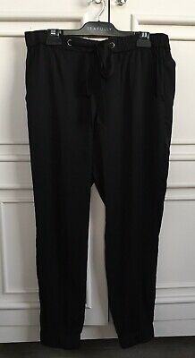 French Connection Black Satin Joggers With Elastic And Waist Tie 14