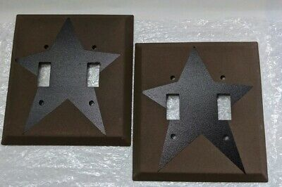 Two Primitive Country Metal Double Light Switch Plates Sand Like Finish Dk Brown