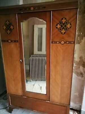 Vintage Antique Dark Wooden Wardrobe with Mirror & Bottom Drawer