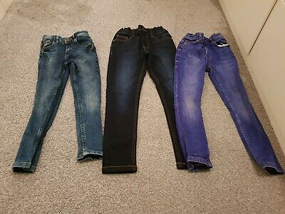 Three Pairs Of Blue Boys Next & M&S Skinny Jeans Age 6