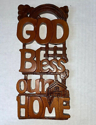"""Carved Wooden God Bless Our Home Wall Hanging Plaque Sign Christian 10"""" X 4.5"""""""