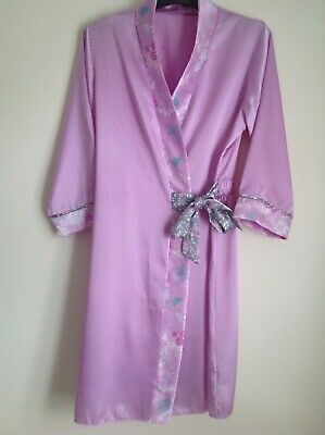 Marks &Spencer Lilac Silky Feel Dressing Gown And Pj S Age 9-10 Years Worn Twice