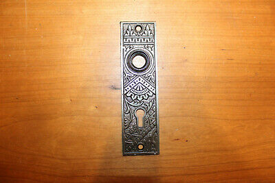 Ornate Victorian Cast Iron Eastlake Door Back Plate Escutcheons Stamped 2-1/4