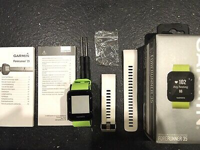 Garmin Forerunner 35 GPS Running Watch - Lime Green & White Straps Boxed.
