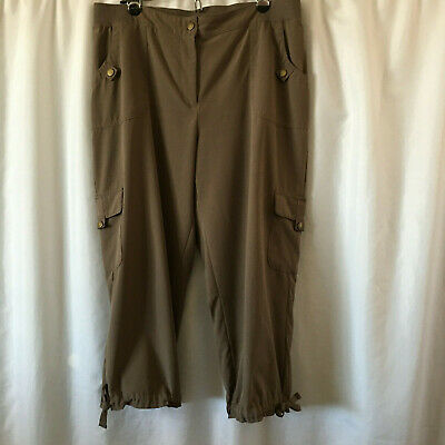 Chico's Zenergy Size 2 Brown Taupe Capri Cropped Pants Cargo Inseam 22
