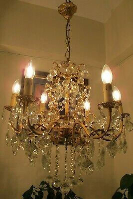 ANTIQUE Vintage French 6 Arms Crystal Chandelier Lamp Light Luster 1940's 22 in