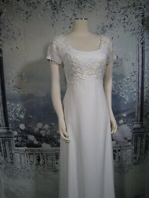 vintage 1990s short sleeve beaded lace ivory button-down wedding gown