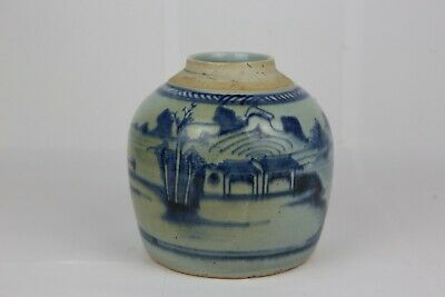 Antique Chinese Canton Porcelain Ginger Jar Blue and White Qing Dynasty 清代瓷罐