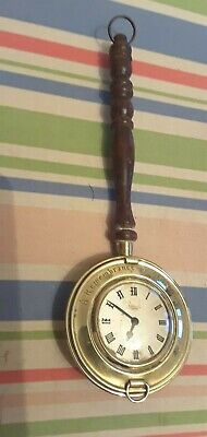 Vintage Little Brass Hanging Clock With Turned Wooden Handle - not working