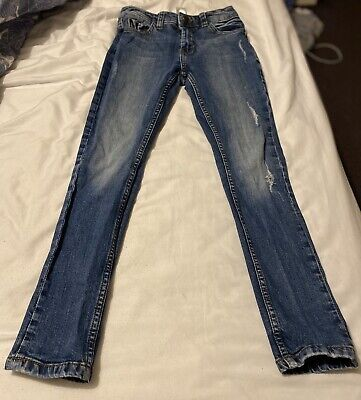 Boys Next Skinny Jeans Age 10 Blue With Worn Effect