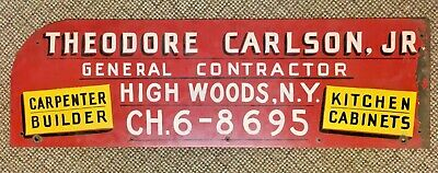 VTG Antique Hand Painted Large Heavy Steel Sign High Woods NY Carlson Carpenter