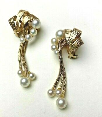 Vintage 14K gold Earrings with Pearls cascading on gold snake chain
