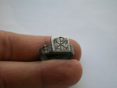 CHI-RHO  Ancient ROMAN LEGIONARY SILVER Ring
