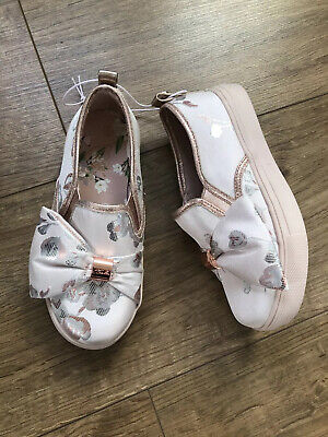 New Ted Baker Girls Satin Slip On Skater Shoes Trainers Size UK 11 EU 29