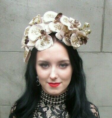 Nude Beige Gold Orchid Flower Fascinator Headpiece Headband Hairband Races 9009