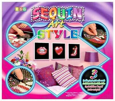 Sequin Art Style Pop Art Childrens Craft Kit - Create 3 Sparkling Pictures