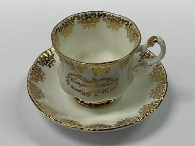 Vintage Paragon White and Gold Congratulations Cup and Saucer