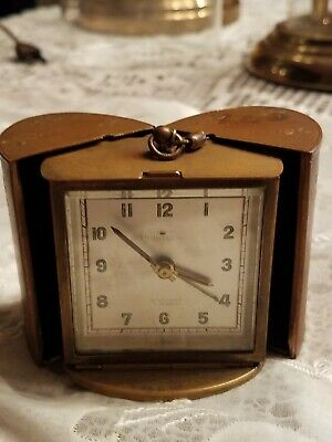 TINY antiqu PRISMATA Art Deco bronze FoldIng Pocket Travel CAR Alarm Clock WORK