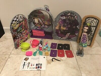 Ever After High Way Too Wonderland +Raven Queen Doll,Playset +Furniture Lot