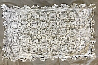 Two Vintage White Crochet Pillow Cases
