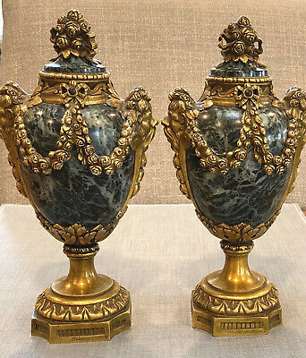 19th C French RAINGO FRERES Brass & Marble Ormolu Urns Garnitures Paris 8.75""
