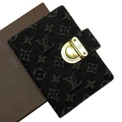 Auth Louis Vuitton Monogram Denim Agenda PM Koala Black Denim/Goldtone - 50928