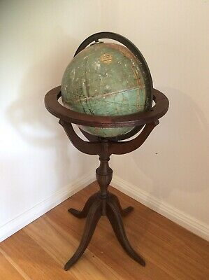 "VINTAGE REPOLOGIE 40's WORLD GLOBE 12"" ON TIMBER STAND"