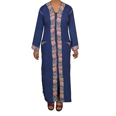 Tcw  Vintage Fabric Woolen Hand Embroidered Arizama Long Top Jacket Blue