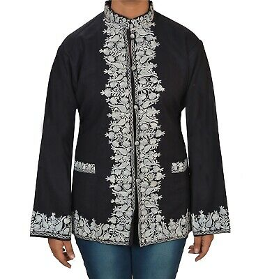 Tcw  Vintage Fabric Woolen Hand Embroidered Arizama Short Top Jacket Black
