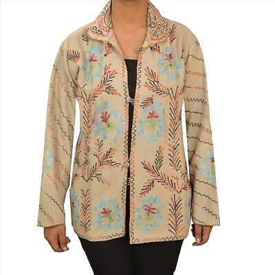 Tcw  Vintage Fabric Woolen Hand Embroidered Arizama Short Top Jacket Cream