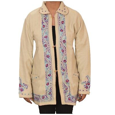 Tcw  Vintage Fabric Woolen Hand Embroidered Short Top Jacket Cream