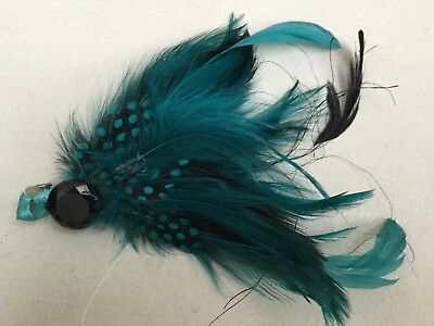 FASCINATOR BY ACCESSORIZE - AQUA FEATHER AND BEAD BN Sh108
