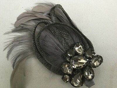 Fascinator By Accessorize - Silver Grey Feather And Bead Bn  Sh110