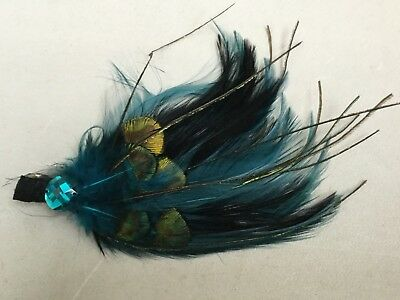 Fascinator By Accessorize - Turquoise Feather And Bead Bn Sh112