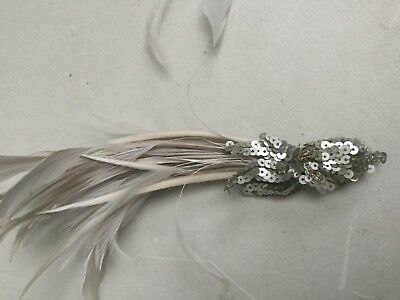 FASCINATOR BY ACCESSORIZE - GREY AND BEIGE FEATHER AND BEAD BN Sh113