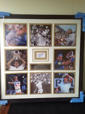 Framed montage of world tennis legends signed by Jimmy Connors