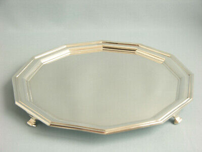 Sehr Dekoratives Art Deco Tablett  Sheffield 1928  Massiv Sterlingsilber  Salver