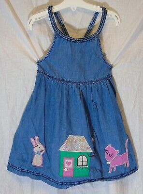 Girls Debenhams Blue Denim Applique Pink Cat Bunny Pinafore  Dress Age 2-3 Years